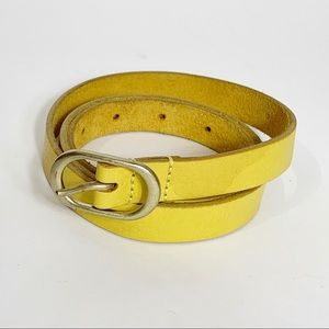 J. Crew Leather Round Buckle Belt Yellow